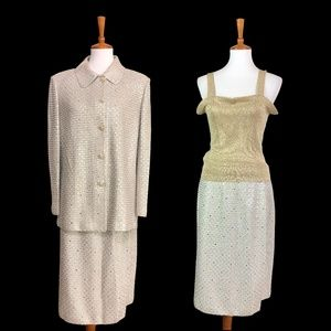 St. John Evening Gold Paillettes 2 pc. Skirt Suit